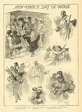 Paris, France, New Year's Day, Presents For Children, 1882 Antique Art Print,