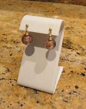 Murano Drop Dangle Glass Round Bead Earrings Purple Amethyst Gold New Beautiful!