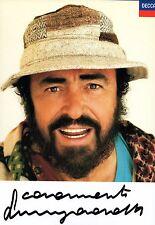 Luciano Pavarotti signed original Decca promo photo card / autograph
