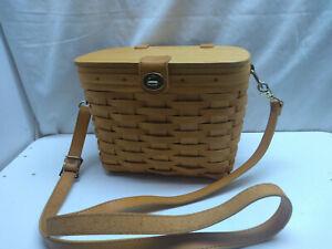 LONGABERGER 1998 Hand Woven Wood Basket Purse Bag Leather Shoulder Strap Liner