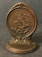One Vintage B&H Bradley Hubbard Cast Iron Sailing Ship Bookend Nautical Seahorse