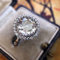 Luxury Huge Round White Sapphire Halo Engagement Ring 925 Silver Wedding Jewelry