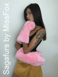 Real rex rabbit full fur mittens wool lining pink