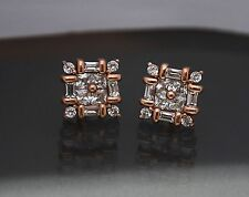 14K Rose Gold Lab Created Square Round & Baguette Diamond Stud Earrings