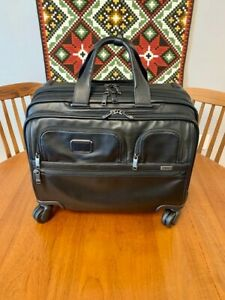 Tumi 117159 Alpha 3 Leather Deluxe 4-Wheeled Laptop Case Brief