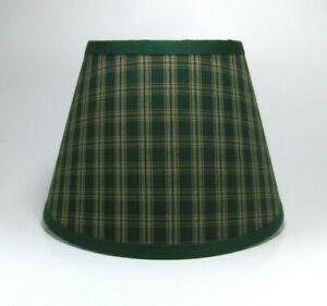 Primitive Country Green Sturbridge Plaid Homespun Fabric Lampshade Lamp Shade