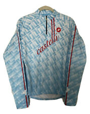 New Castelli Cycling Womens Blue Red 1/4 Zip Base Layer Medium 3 Back Pockets