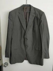 Ermenegildo Zegna Grey Striped Suit Jacket - Size 56R - Silk & Wool Blend