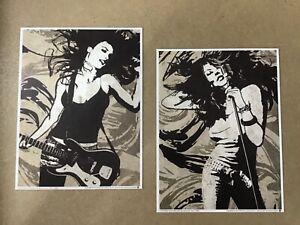 Art print pair - Rock & Roll, female contemporary, guitar & vocals