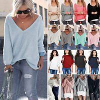 Women Long Sleeve Knitted Pullover Casual Sweater Jumper T-shirt Tops Blouses