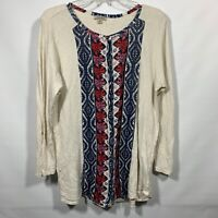 Lucky Brand Printed Button Down blouse Women Shirt Top Plus Size 1X Tab Sleeves