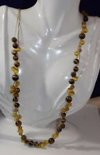 Vintage Long Gold Chain Braided Tiger Cats Eye Glass Bead Necklace 8d 51