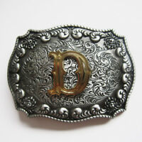"Letter ""D"" Western Cowboy Rodeo Initial Belt Buckle"
