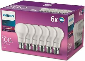 B22 Frosted Led Light Bulbs 13 100 Watts Warm Colour White Pack 6 Temperature Eu