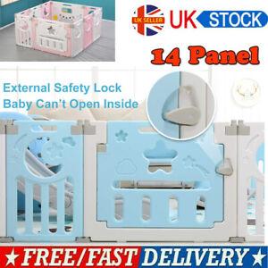 14 Panel Baby Playpen Plastic Foldable Kids Safety Play Yard Outdoor Indoor UK