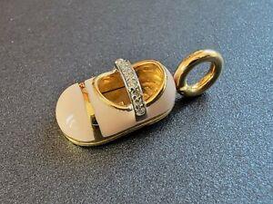 18K Yellow Gold Aaron Basha Diamond Shoe Pendant Charm with Pink Enamel 6.7g