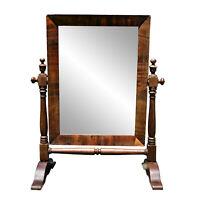 Antique American Empire Flame Mahogany Gentleman's Shaving Mirror