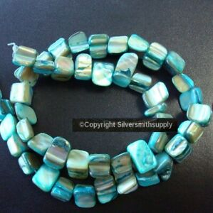 Turquoise baroque mother of pearl abalone shell nugget beads 15 in. strand BS337