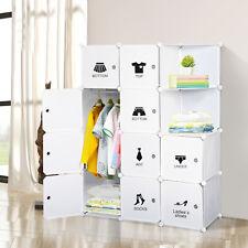 Wardrobe Closet Cupboard Storage Organizer 10 Cube Clothes Hang White