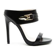New Black mule high heel stilettos pump peep toe open sandals women shoes sz 6