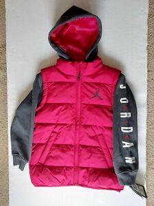 New* Nike Air Jordan Size 7 Therma Puffer Boy Hooded Jacket Red Black 856469-R78