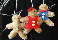 Felt Gingerbread Man Lady Boy  Christmas Tree Decoration with Buttons Hanging