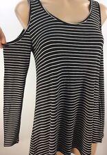 Ultra Flirt Juniors' Cold-shoulder Striped Rayon Spandex Knit Top BLACK WHITE