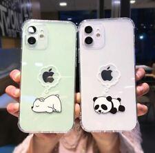 Bear Panda Phone Case iPhone 11 12Pro Max Mini X XS XR 7 8 Plus Clear Soft Cover
