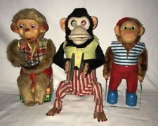 Vintage Battery Op Monkey Lot Hsin Chi Jolly Chimp Jump Roper & Bubble Blower