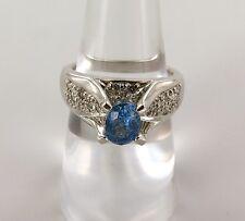 .IMPRESSIVE 14CT WHITE GOLD, DIAMOND & CEYLON BLUE SAPPHIRE RING VALUATION $3800