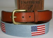 Mens Smathers & Branson USA American Flag Golf Stitched Needlepoint Belt Blue 36