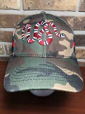 Men's Gucci Supreme Camo King Snake Hat Cap Authentic Camouflage Strapback RARE