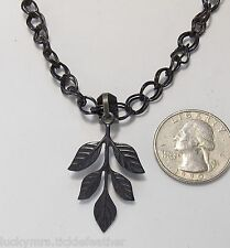 """Pressed Metal 5-Leaf Branch Pendant Necklace, Black Double Curb Chain, 18"""""""