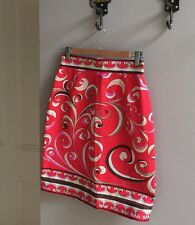 Emilio Pucci Vintage Cotton Skirt Small Size Red