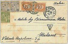 MONACO -  POSTAL HISTORY:  POSTCARD to ITALY - TAXED on ARRIVAL 1904