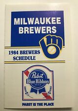 Milwaukee Brewers 1984 pocket schedule MLB Pabst Blue Ribbon Near Mint Condition