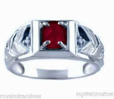 Mens Ruby & Diamond Ring 14K White Gold