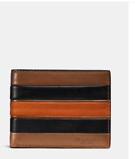 Coach Varsity Stripe Slim Bifold Men's Wallet Dark Saddle/Black NWT