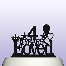 Acrylic Boy/Girl 4th Birthday 4 Years Loved Childrens Cake Topper