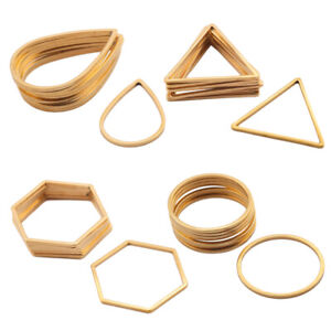 10X Stainless Steel Gold Plated Circle Hoop Earrings Connectors Charms Link Ring