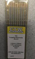10 Electrodos TUNGSTENO Soldadura TIG ETW 2,4x150 mm DORADO 1,5% Lhanthanum