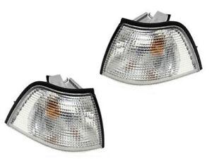 BMW e36 4dr Turn Signal Light CLEAR Front L+R (x2) corner blinker park lamp