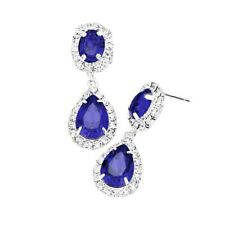 Royal Blue diamante earrings sparkly silver tone prom party bridal dangly 434