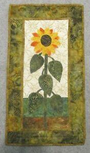 """Hand Made Art Quilt / Wall Hanging   """"Sunflower """"  ~12"""" x 22"""" ~ Batiks"""
