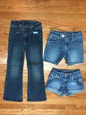 Lot Of 3 Girls Shorts Jeans Size 7 SLIM, Bongo, Levis, Faded Glory Pants