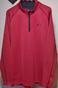 UNDER ARMOUR COLD-GEAR 1/4 ZIP RED PULLOVER FLEECE MEN'S SIZE 2XL FREE SHIPPING!