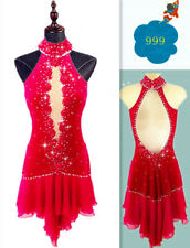 Ice Figure Skating Dress Red Custom Baton Twirling costume Dress adult Girl p367