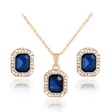 Oval Blue Sapphire Jewelry Sets For Women 18KGP Necklace Pendant Earrings Set