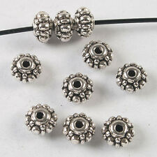 30pcs dark silver tone flower spacer beads 7mm h3837