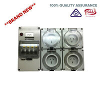2X 10AMP And 2X 15AMP 3 Pin RCD Power Point Socket Outlet RCBO IP66 Weatherproof